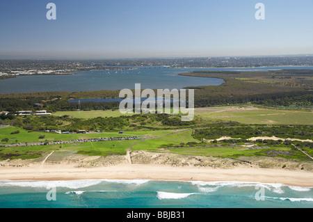 Wanda Beach Cronulla and Botany Bay Sydney New South Wales Australia aerial - Stock Photo
