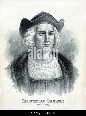 Portrait of Christopher Columbus published c1892 by Girsch & Roehsler to mark the 400th anniversary of his landing - Stock Photo