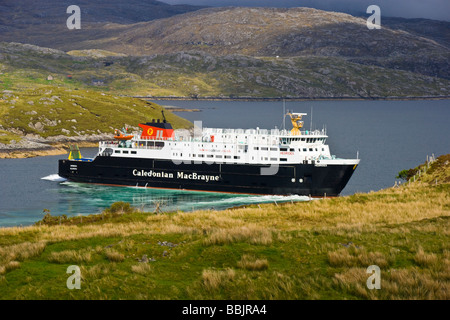 CalMac car ferry Hebrides turning in East Loch Tarbert en route to Uig in Skye from Tarbert on Harris - Stock Photo