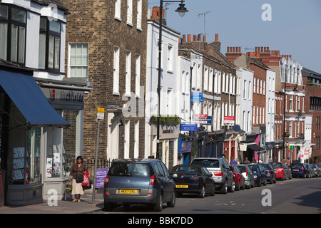 Row of houses with cards in Highgate High Street, London - Stock Photo