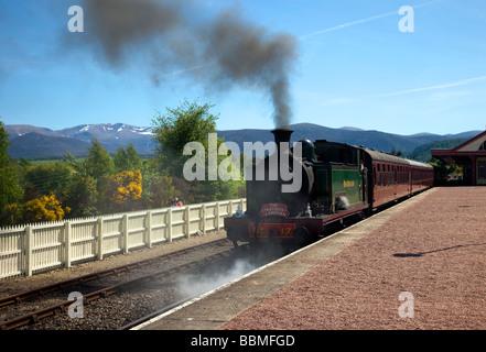 Steam loco 17 'Braeriach' Strathspey _Restored Steam Railway,  Boat of Garten steam railway station Aviemore Station - Stock Photo