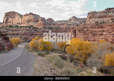 On Highway 12 in the valley of the Escalante River, Utah, USA - Stock Photo