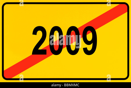 Sign city limits, symbolic image for the end of the year 2009 - Stock Photo
