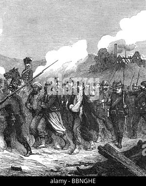 events, Franco-Prussian War 1870 - 1871, Battle of Sedan, 1.9.1870, French prisoners of war, wood engraving, 19th - Stock Photo