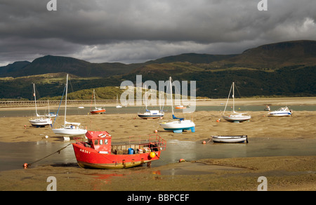 Barmouth, Gwynedd, North Wales, harbour at low tide - Stock Photo