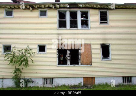 Fire damaged house in Detroit Michigan USA - Stock Photo