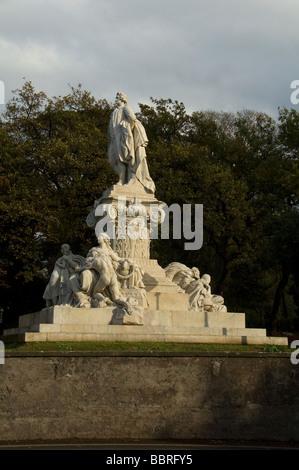 Monument to Goethe by Gustav Eberlein at Villa Borghese gardens, Rome Italy - Stock Photo