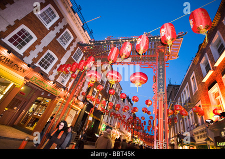 London Chinatown in the evening, decorated with red lanterns, UK - Stock Photo