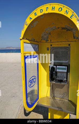 Cardphone, greek  telephone company OTE (Hellenic Telecoms S.A.) in Sitia (Siteia), Crete, Greece, Europe - Stock Photo