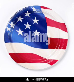 Red white blue paper plate  patriot patriotic American Flag - Stock Photo