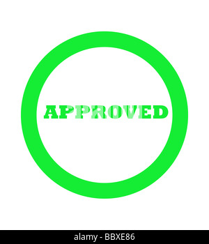 Green approved stamp isolated on white background - Stock Photo