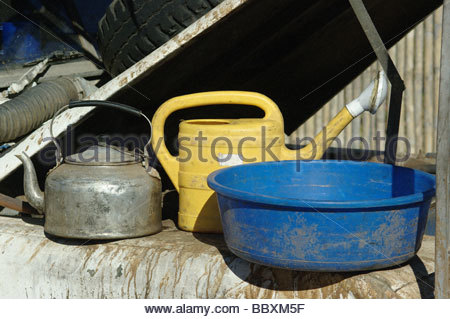 Washing and cooking camping equipment used by explorer Kypros in Mozambique Southern Africa - Stock Photo
