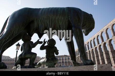 Capitoline Wolf statue and Roman Aqueduct Segovia Spain - Stock Photo
