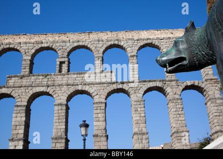 Aqueduct of Segovia, Roman aqueduct, Segovia, Spain - Stock Photo