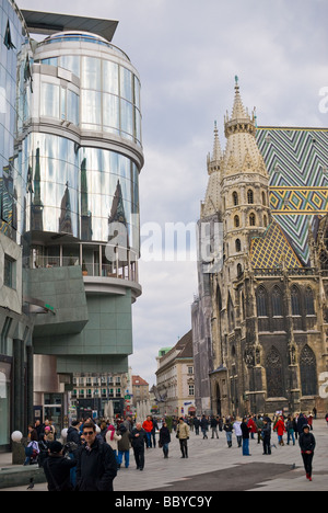 the famous st stephens cathedral located in the first district of vienna - Stock Photo