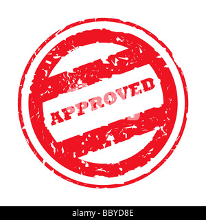 Red used approved stamp isolated on white background - Stock Photo