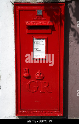 freshly painted red GR post office mail collection wallbox in bangor county down northern ireland uk - Stock Photo