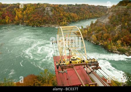 scenery of a cable aero car above the Whirlpool in autumn in Niagara Falls Ontario Canada - Stock Photo