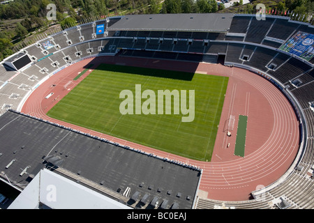 Aerial view empty 1952 Olympic stadium Helsinki Finland Europe - Stock Photo