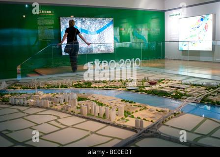 Illuminated scale plan of Shanghai Bund area for World Expo 2010 Shanghai Urban Planning Exhibition Hall China - Stock Photo