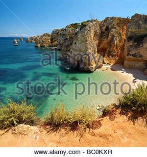 Algarve - Portugal - Coast of Lagos at Praia da Dona Ana - Stock Photo