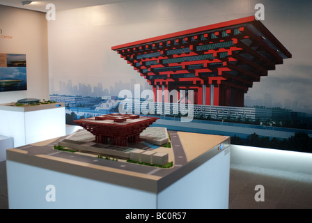 A model of China pavilion for the World Expo 2010 Shanghai Urban Planning Exhibition Hall China - Stock Photo