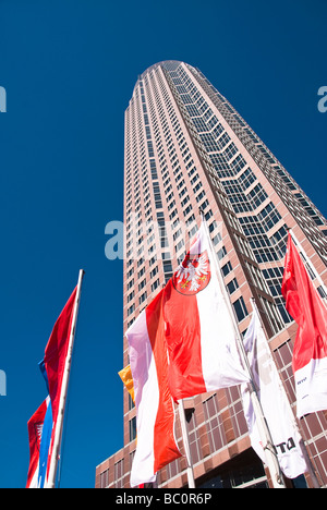 Modern Business Building in Frankfurt am Main Messeturm Trade Tower - Stock Photo