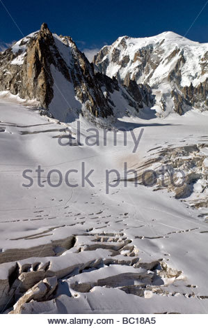 la Tour Ronde and Italian Mont Blanc south-east face, Chamonix, France - Stock Photo