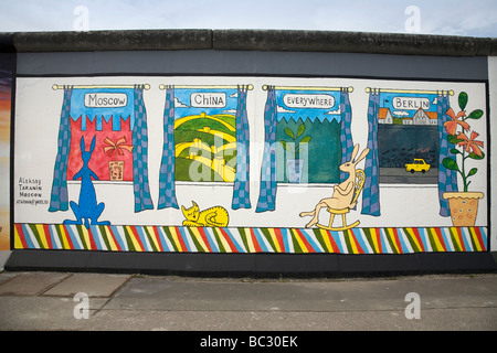 Berlin Wall, East Side Gallery, Berlin, Germany - Stock Photo