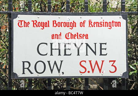 Cheyne Row street sign The Royal Borough of Kensington and Chelsea London SW3 England UK - Stock Photo