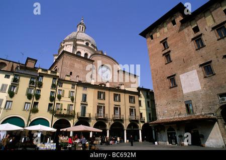 italy, lombardy, mantua, piazza delle erbe - Stock Photo