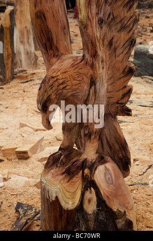 Wood Art, sculpture, sawdust, sculptor, timber, chips, log, professional, working, art, artist, cut, chain saw, - Stock Photo