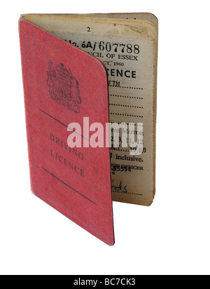 An old 1960s UK driving licence - Stock Photo