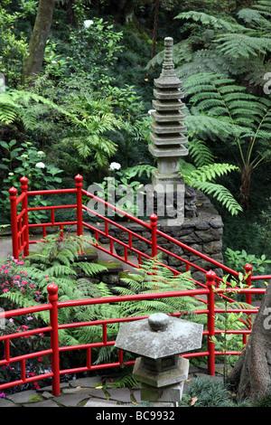 Japanese garden, Monte Palace Tropical Garden Monte Madeira - Stock Photo