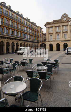 Empty courtyard cafe espresso bar in San Sebastian Spain - Stock Photo