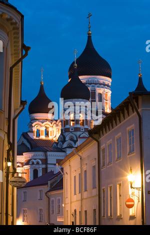 Alexander Nevsky Church at Dusk, Tallinn, Estonia - Stock Photo