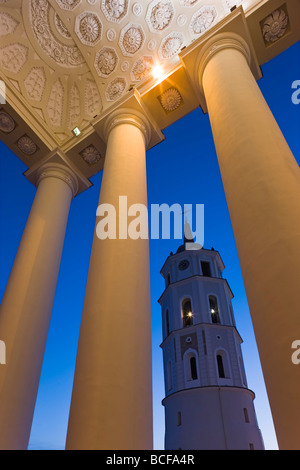 Lithuania, Vilnius, Cathedral and Belfry Tower - Stock Photo