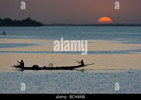 Fishing Boat on the Bani River in Segou Mali - Stock Photo