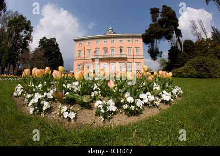 Villa Ciani Art Museum in Parco Civico Lugano Lake Lugano Ticino Switzerland - Stock Photo