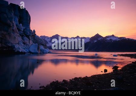 Sunset over Johns Hopkins Inlet near Lamplugh Glacier, Glacier Bay National Park SE Alaska - Stock Photo