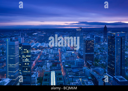 Germany, Hessen, Frankfurt-am-Main, view from the Main Tower, Financial District towers - Stock Photo