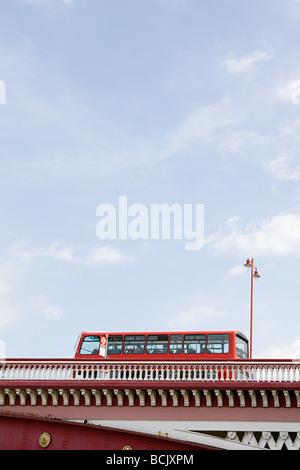 Bus on blackfriars bridge - Stock Photo