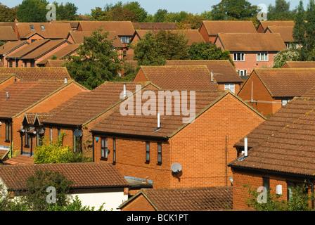 Milton Keynes  Traditional modern red brick family homes Buckinghamshire Bucks England HOMER SYKES - Stock Photo