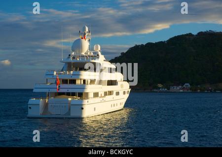The large yacht 'Apoise' at anchor near Guadaloupe Island, Caribbean. 2009 - Stock Photo
