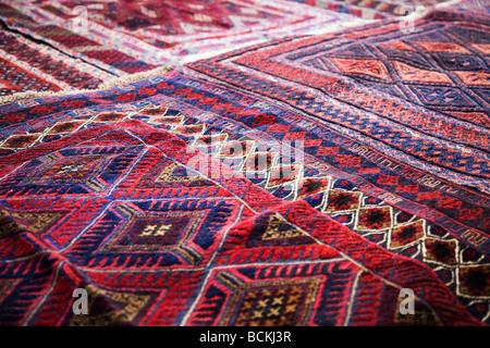 Design on rug in market - Stock Photo