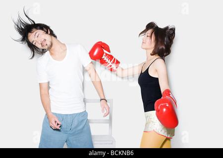 Couple boxing - Stock Photo