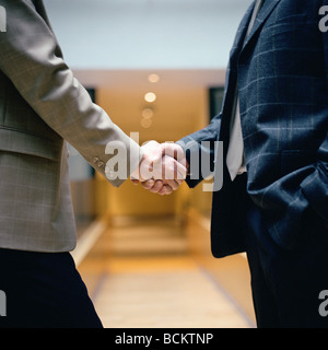 Businessmen shaking hands, mid-section - Stock Photo