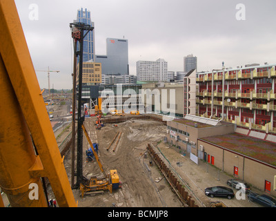 Large building construction site in the city centre of Rotterdam Zuid Holland the Netherlands - Stock Photo