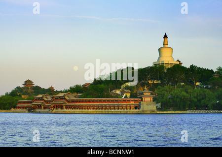 The White Pagoda in Beihai Park in Beijing, China - Stock Photo