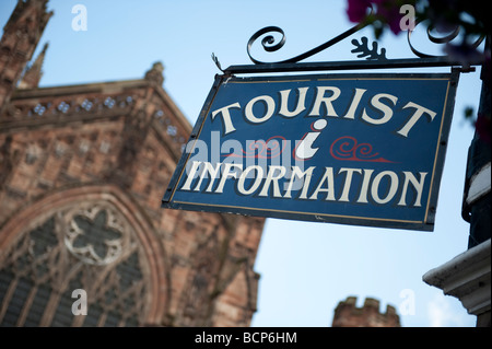 Tourist information sign in front of Hereford Cathedral Hereford city Herefordshire England UK - Stock Photo